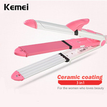 Discount! Kemei 3 in 1 Multi-function Electric Corn Curler Straight Volume Dual Straight Hair Clip Adjustable Hair Curling Iron EU Plug