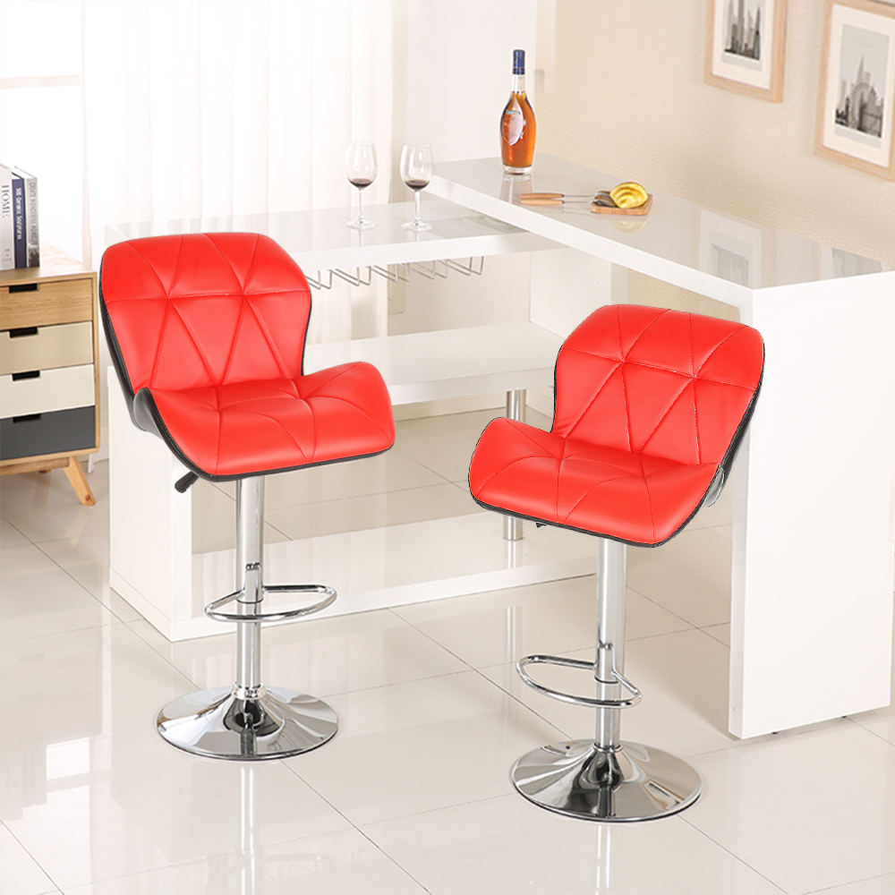 2pcs Modern Bar Chair Fashion Tank Style Bar Stool Kitchen & Bar Adjustable High Barstool Soft PU Leather for Home Funiture HWC