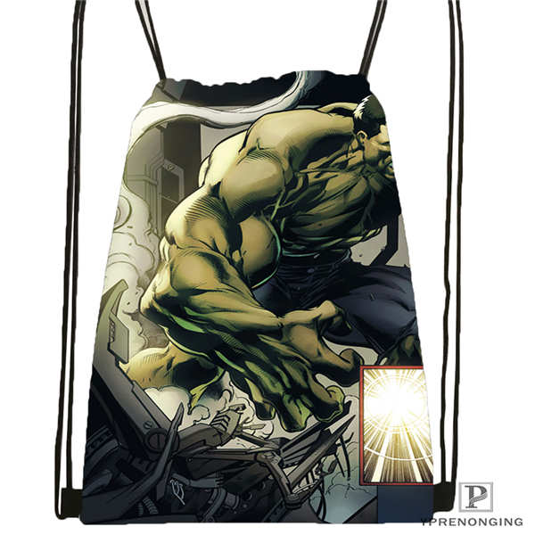 Custom Avengers Hulk- Drawstring Backpack Bag Cute Daypack Kids Satchel (Black Back) 31x40cm#2018611-1(6)