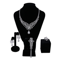 African Beads Bridal Jewelry Sets Fashion Flower Engagement Nigerian Wedding Necklace Earring Bracelet Ring Dubai 4 pieces / set