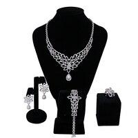African Beads Bridal Jewelry Sets Fashion Flower Engagement Nigerian Wedding Necklace Earring Bracelet Ring Dubai 4 pieces / set