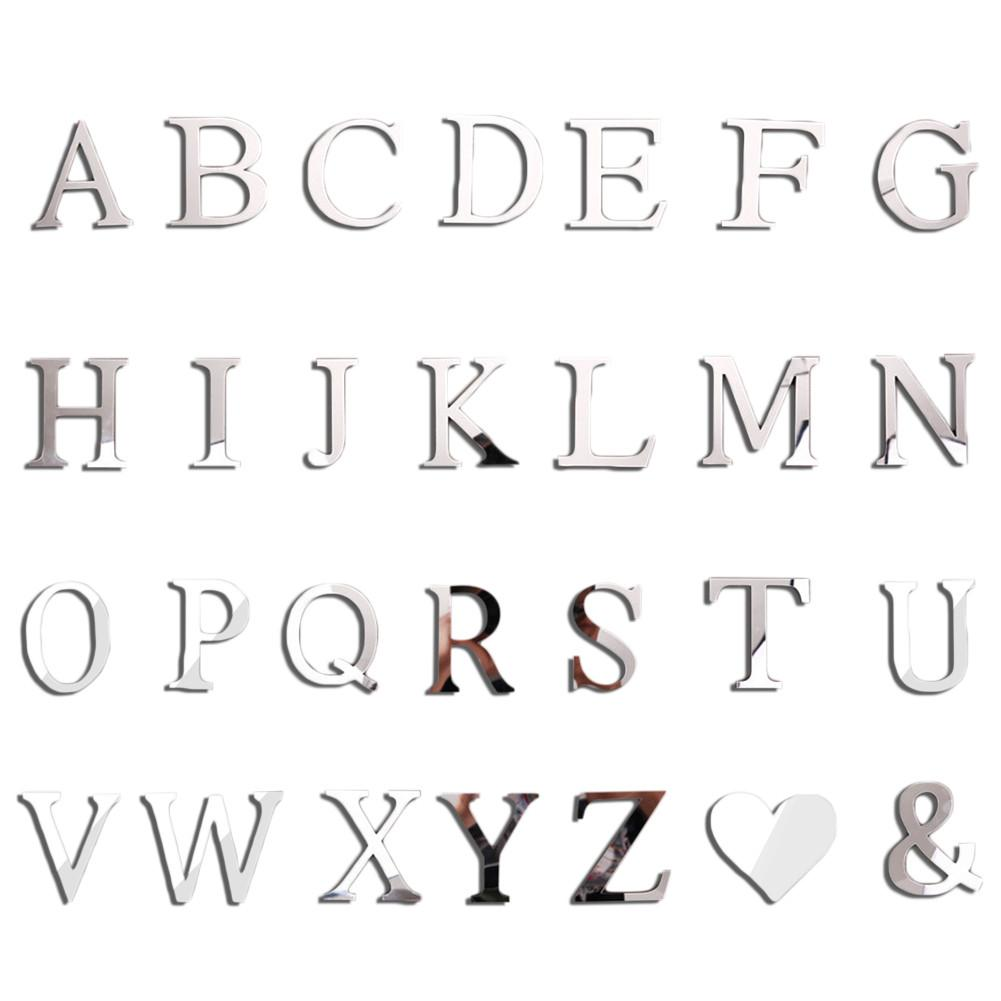 26 Letters Silver Mirror Wall Stickers Acrylic Wall Decals