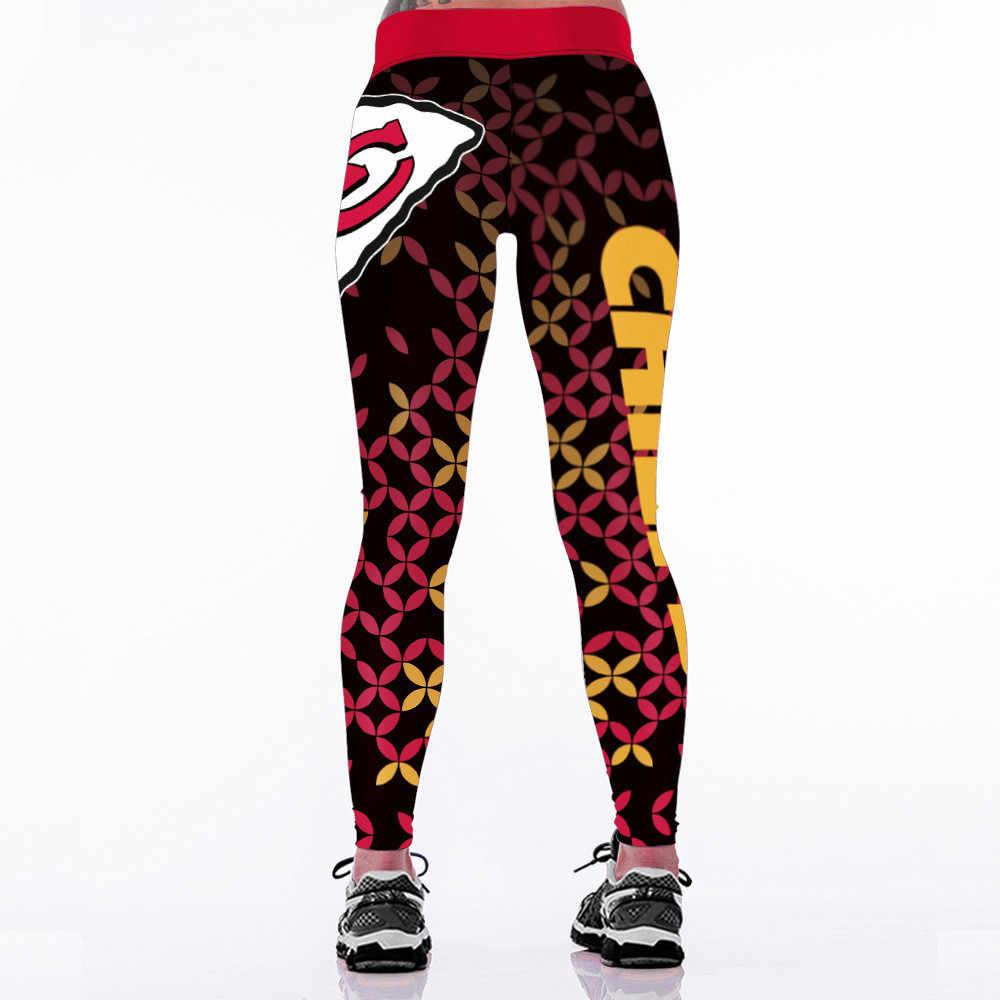 2017 Baru Kansas City C-Logo Tim Kebugaran Legging Elastis Serat Hiphop Pesta Cheerleader Rooter Celana Kerja Celana Dropship
