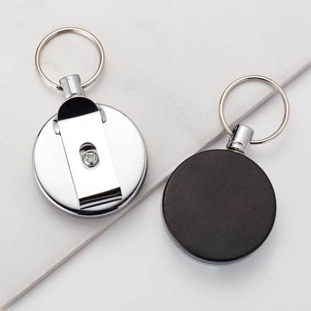 IPARAM 2016 New High quality wholesale Retractable Metal Card Badge Holder Steel Recoil Ring Belt Clip Pull Key Chain
