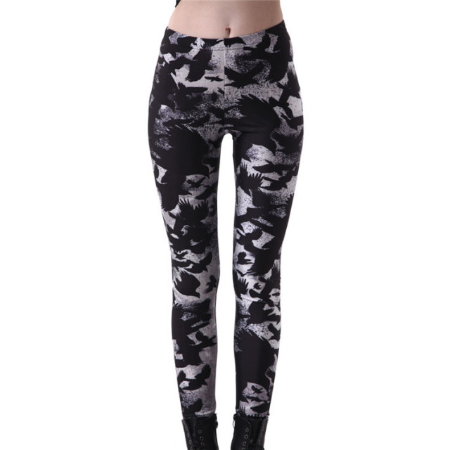 2017 New Women's Black Milk Workout Leggings Plus size Crow Printed Fitness Pants Female Leggins Slim Sexy Jeggings Trousers 4XL