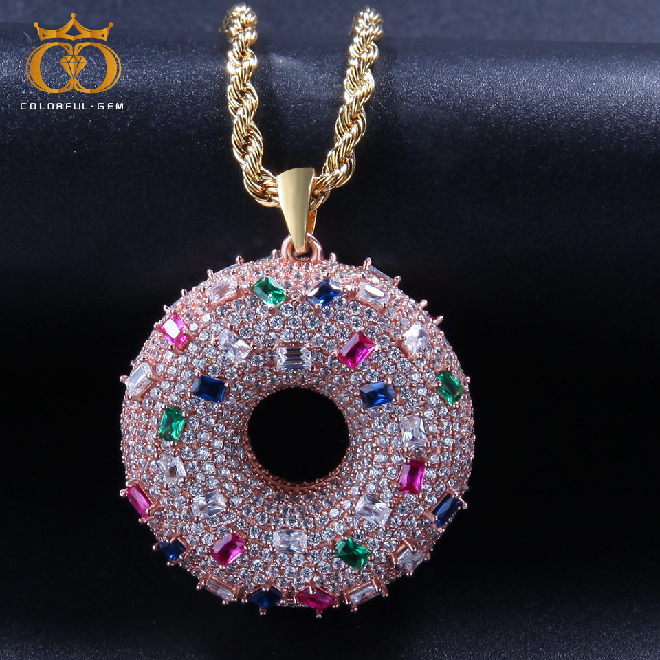 Coloré. gem cercle pendentif Micro pavé AAA cubique Zircon avec Tennis chaîne cubaine collier hommes HipHop bijoux pour cadeau