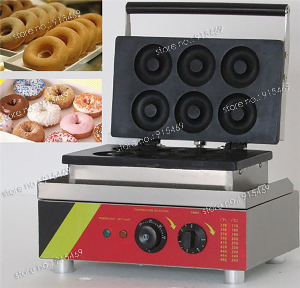 Free Shipping 110v 220v Electric Commercial 6pcs Doughnut Donut Maker Iron Baker Machine 110v 220v automatic donut making machines with 3 mold free shipping