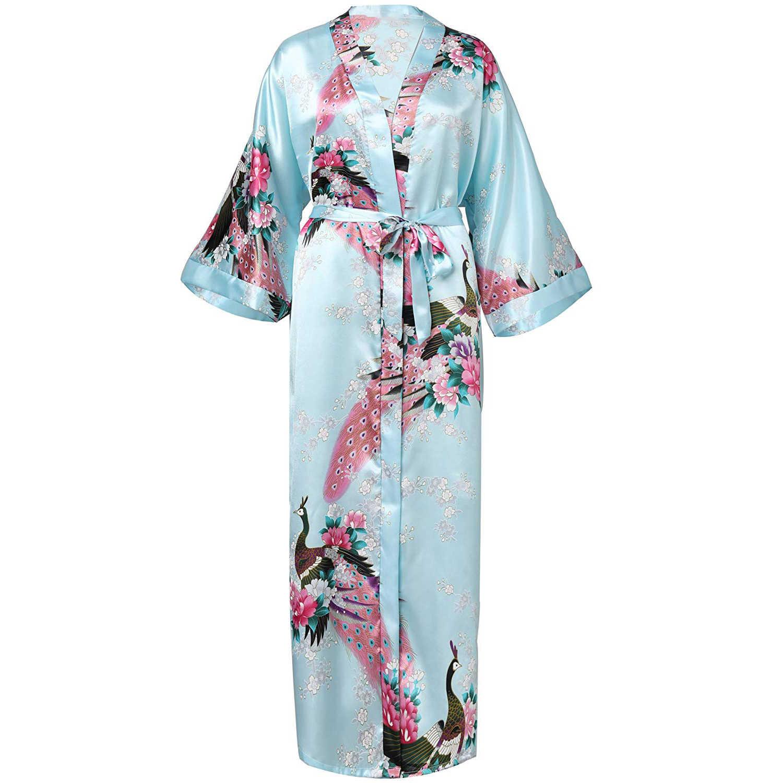 lake blue Chinese Silk Women/'s Kimono long Robe Gown nightwear S-3XL