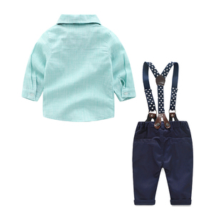 Image 2 - 2019 kids Outfits Baby Clothes Suits Infant Boys Gentleman Suits Green Shirt + Nary Pants Kids Clothing Sets Clothes