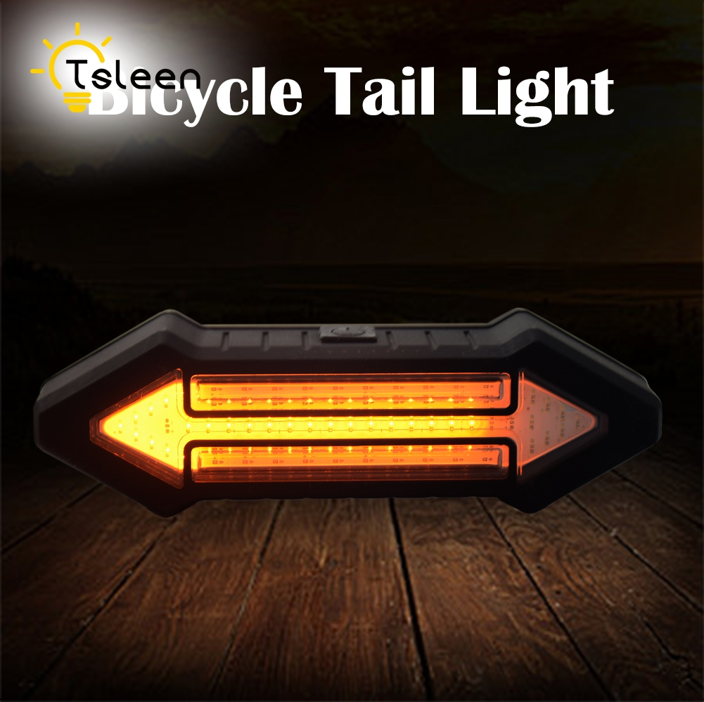 TSLEEN New Remote Control LED Bicycle USB LED Lamp MTB Bike Front Rear Light Outdoor Cycling Warning Lamp Night Safety Taillight 360 degree rotating flip case cover swivel stand for ipad mini 3 2 1 white