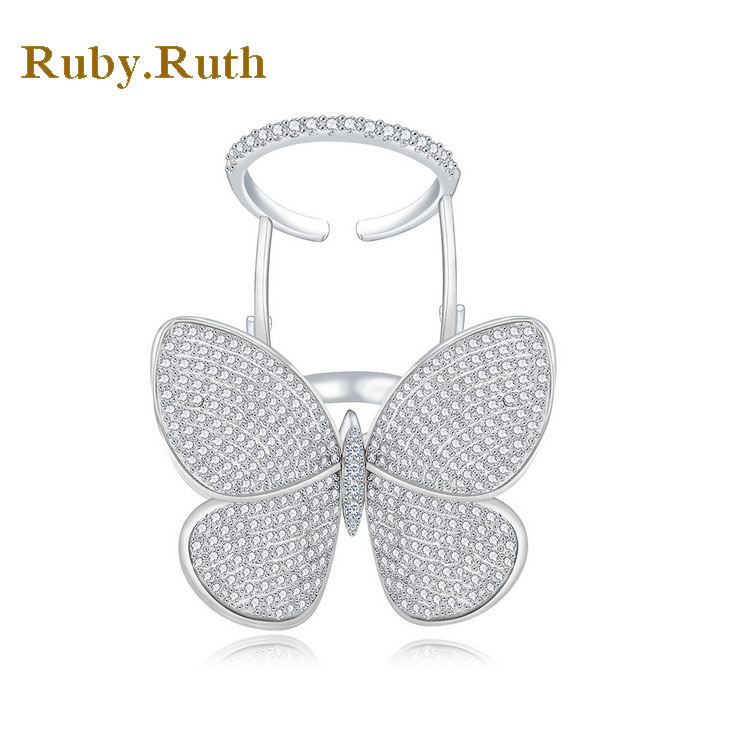 Butterfly Ring White Gold Color Crystal Rings For Women RingS