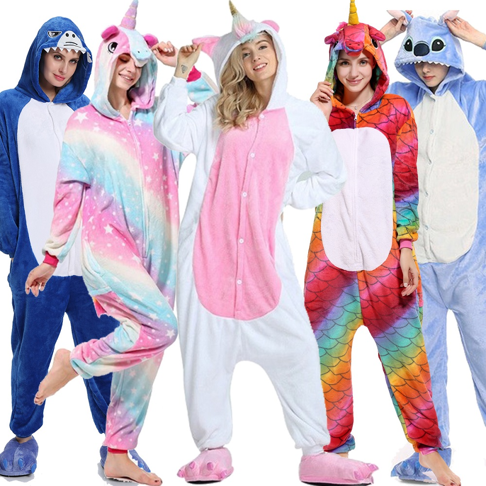 Adults Animal Unicorn Pajamas Set Stich Cartoon Kigurumi Women Men Winter Unisex Flannel Stitch Pajamas Unicornio Sleepwear S-XL