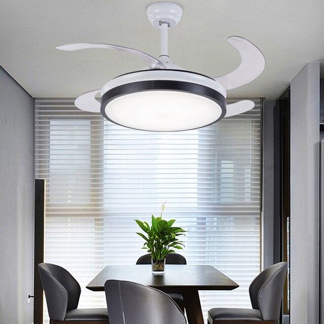 יוקרה בלתי נראה מאוורר תקרה מודרני מאוורר עם אורות אקריליק עלה Led תקרת אוהדי 110 V/220 V עם מרחוק בקרת מאוורר תקרה