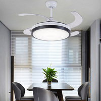 Luxury invisible ceiling fan Modern Fan with lights Acrylic Leaf Led Ceiling Fans 110V/220V with remote control ceiling fan