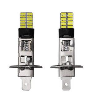 Image 4 - CARBINS 2X H1 H3 LED נורות סופר מואר 4014 24SMD רכב ערפל אורות 12V 6000K לבן נהיגה יום ריצה מנורת Nebbia רכב אות LED