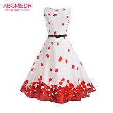 Big Code Teenage Girls Dresses 2017 New Style Dress Kids Casual Printed Clothes Children Leaves Dress Teenage Clothing Vestido(China)