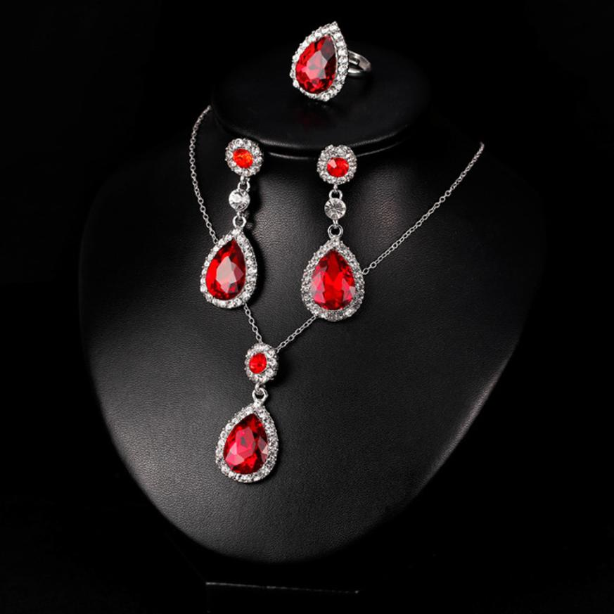 100% New Women Necklace Earring Ring Set Metal Jewelry Bib Pendant Chain Necklace Sets beautiful accessories light transmission