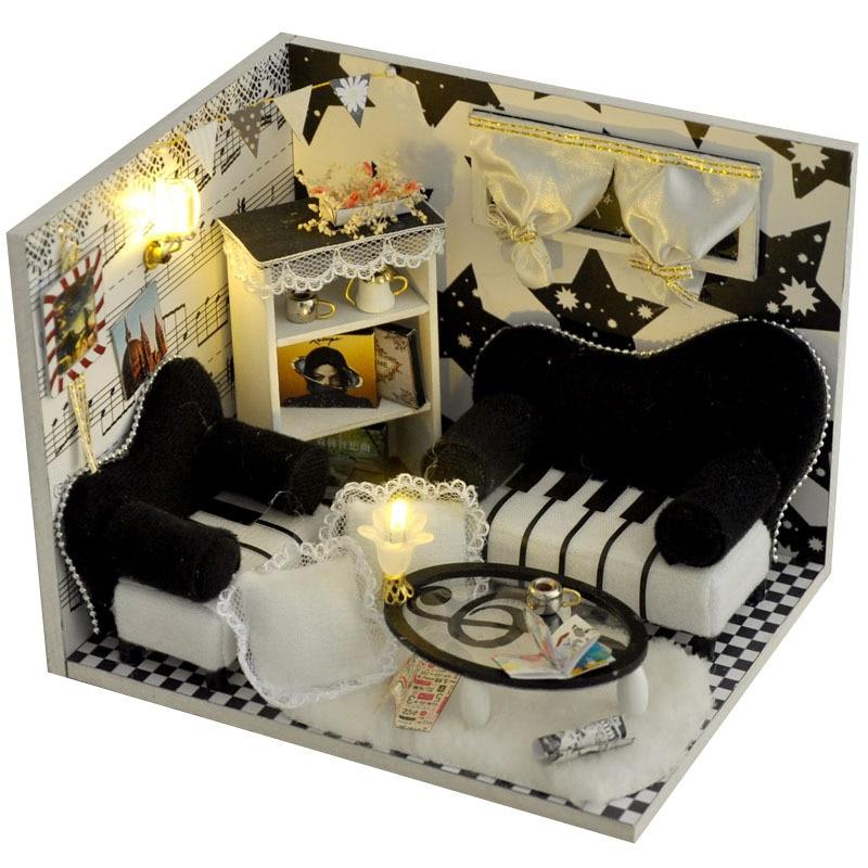 Girls Kids Childrens Wooden Nursery Bedroom Furniture Toy: 3D Diy Note Creative Room Wooden Miniature Furniture Toy