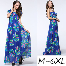 2017 New Fashion Women Summer Chiffon Dress Sexy Sleeveless Plus Size 5XL 6XL Blue Floral Beach Casual Long Maxi Dress