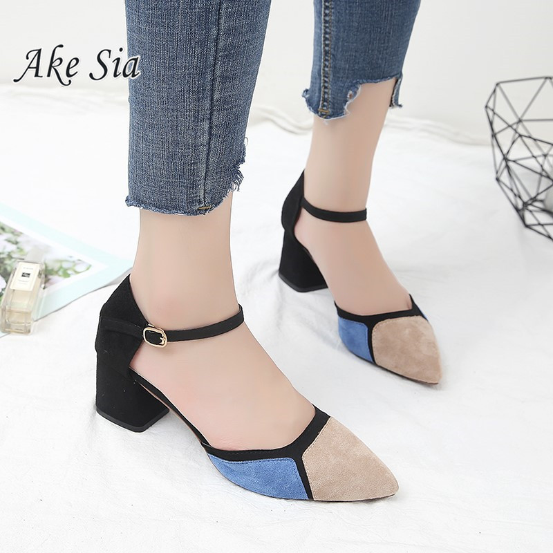 2019 Summer New Women Thick With Shallow Colorblock Women Shoes Pointed Toe Pumps Dress High Heels  Comfortable Single Shoes K11