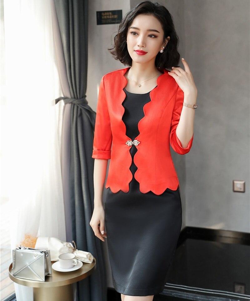 2018 printemps été OL Styles Blazes costumes avec robe pour femmes affaires travail porter dames bureau tenues ensembles grande taille Orange