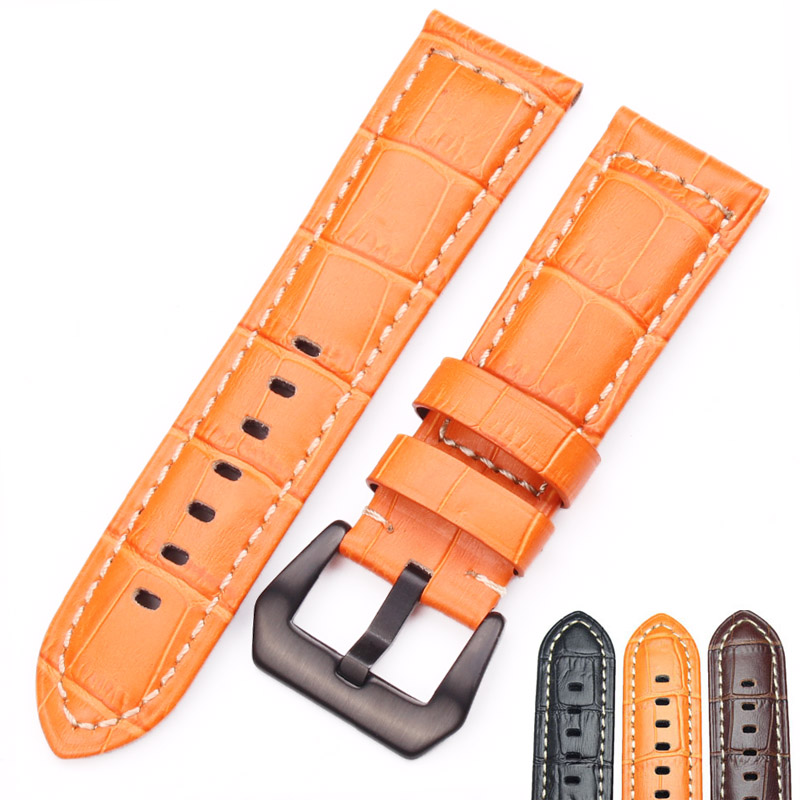 HENGRC Watchbands 22mm 24mm Men Brown Black Orange Thick Genuine Leather Watch Band Strap For Panerai Watch Accessories hengrc fashion genuine leather watch band belt 20mm 22mm brown blue high quality men strap metal needle buckle for panerai