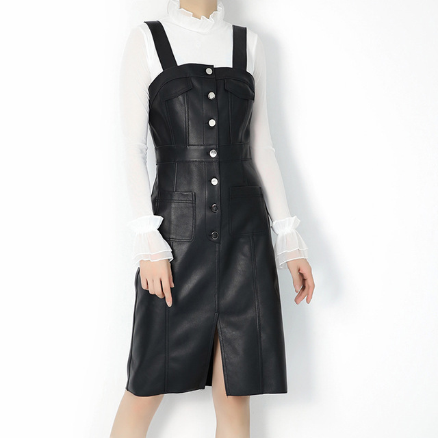 2019 New Women Genuine Leather Dress Soft Real Sheepskin Sheep Leather Dress Fashion Sexy Slim Black Midi Dress vestido de festa