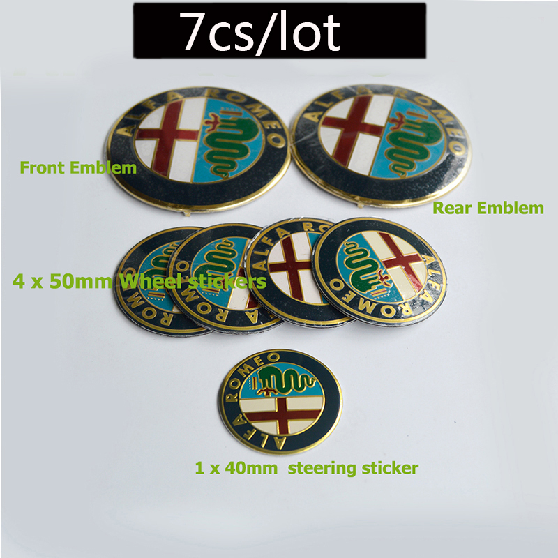 7pc Car Badge 74mm Front Hood Emblem Rear Emblem 50mm Wheel Hub Cap 40mm steering wheel sticker for alfa romeo Mito 147 156 159