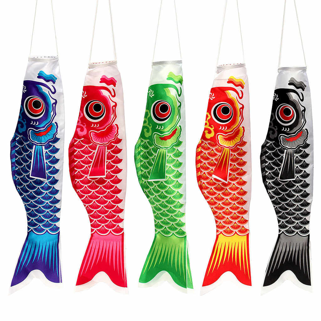 3 PCS Japanese Carp Windsock Streamer Fish Flag Kite Koi Home Outdoors Hanging Decoration banner Satin 5 colors Multiple sizes