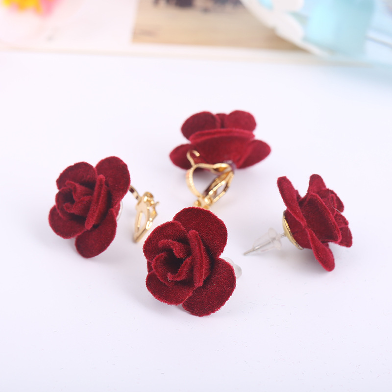 2017 New Style Fashion Handmade Cloth Rose Flower Shape Clip on Earrings Wihtout Peircing for Women Party Wedding Charm Earrings