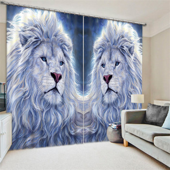 2017 Modern Luxury white gold lion Blackout Window Curtains For Kids Bedding room Living room Hotel Drapes Cortinas