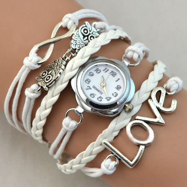 2017 Girl Bracelet Watch Infinity Love Owl Knitting Multilayer PU Leather Quartz Watches Jewelry Clock For Women Lady @17 LXH