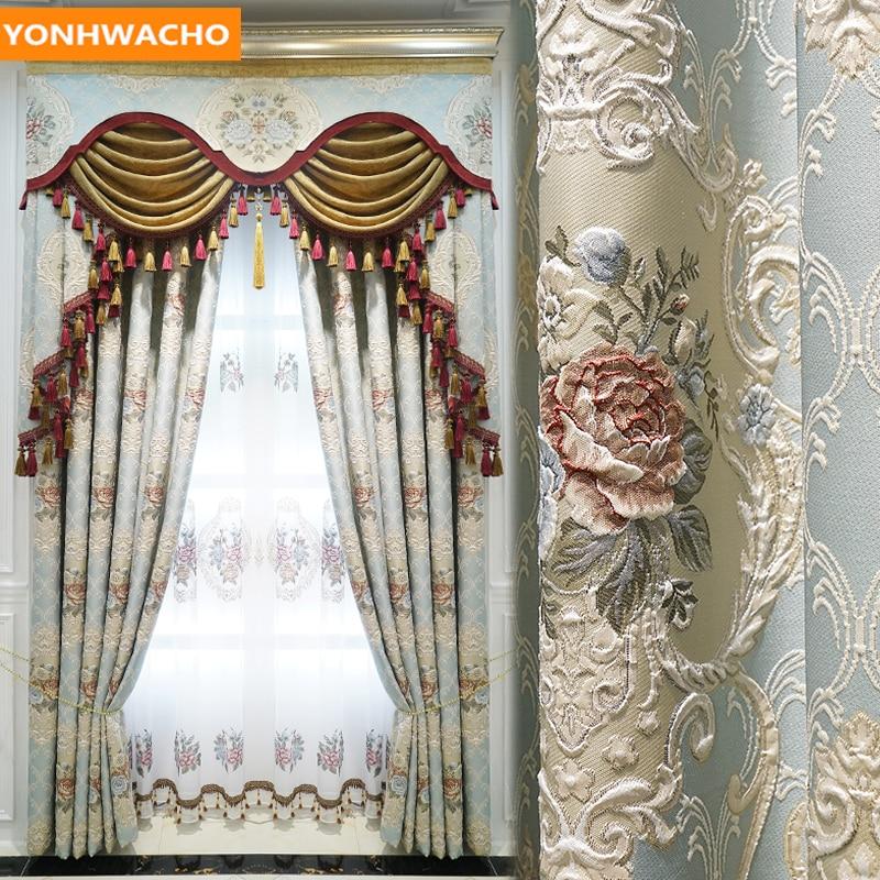 Custom Curtains Luxury European Jacquard Bedroom Embossed High-end Thick Blue Cloth Blackout Curtain Tulle Valance Drape B173