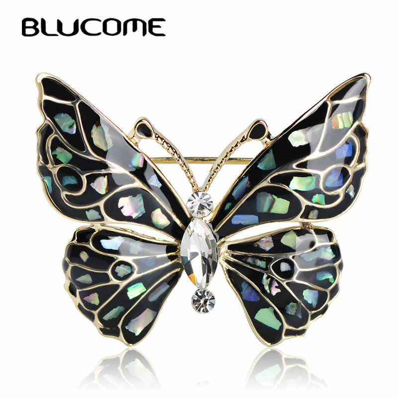 Blucome Fashion Blue Butterfly Brooch Clothes Accessories Gold-color Abalone Shell Insect Brooches Jewelry Pins For Suit Dress