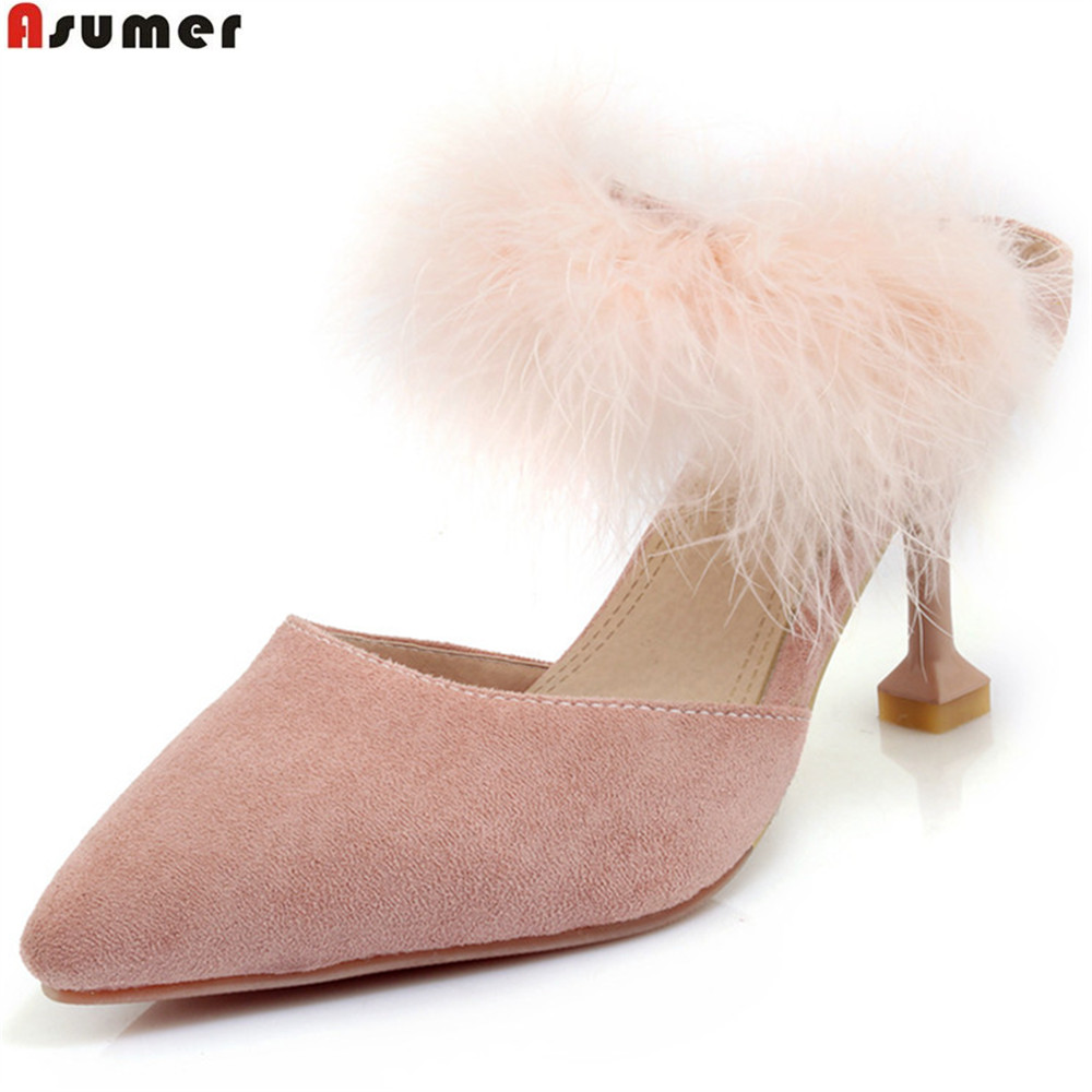 где купить ASUMER black elegant pointed toe spring autumn shoes woman pumps thin heel wedding shoes women high heels shoes size 33-43 по лучшей цене