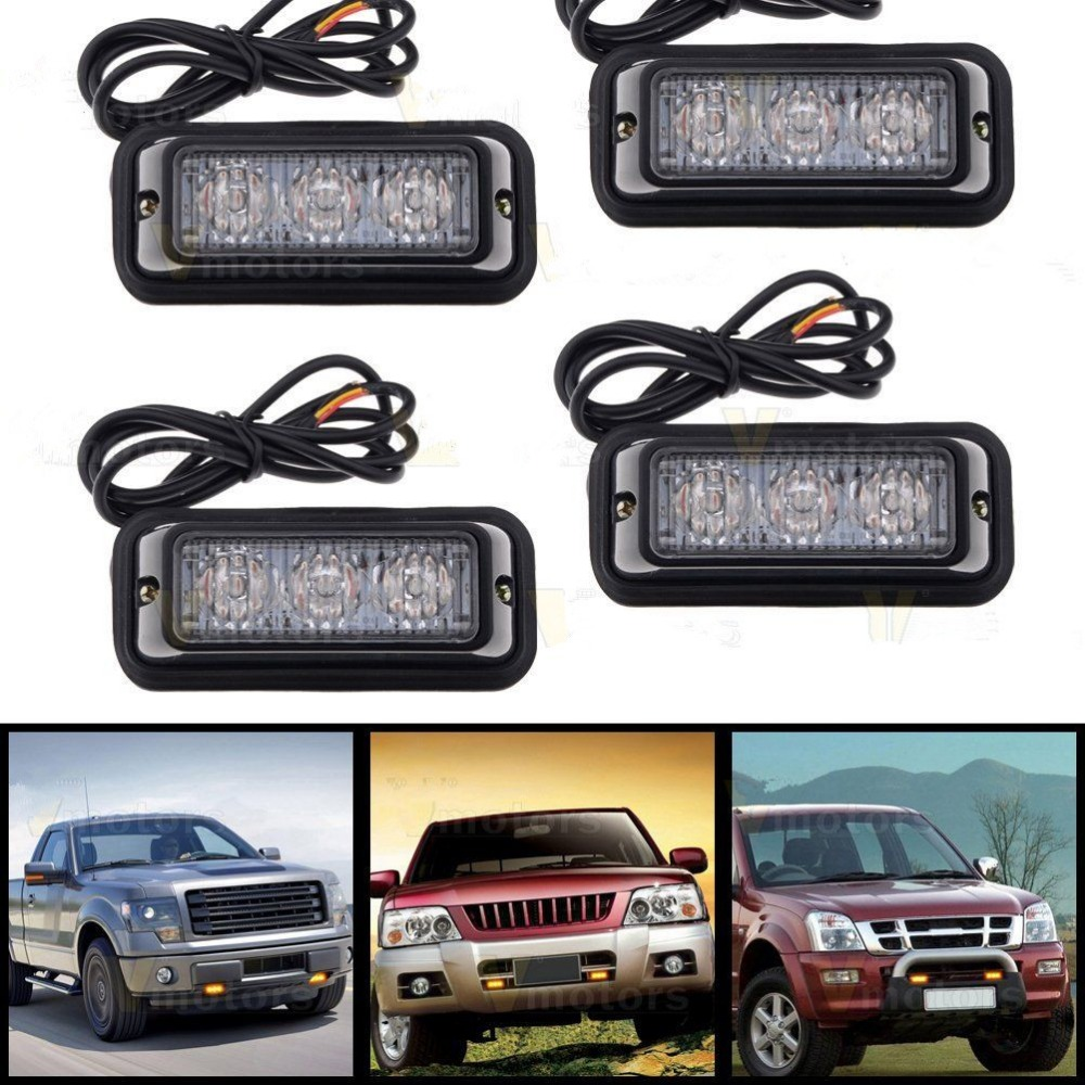 CYAN SOIL BAY 4X Car Motorcycle Amber 3 LED Waterproof Warning Hazard Emergency Beacon Flash Strobe Light Bar