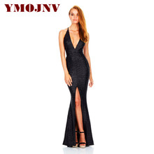 YMOJNV 2017 New Design V-neck Slim High Waist Dress for Women Backless Sequined Long Dresses Spaghetti Strap Evening Party Dress