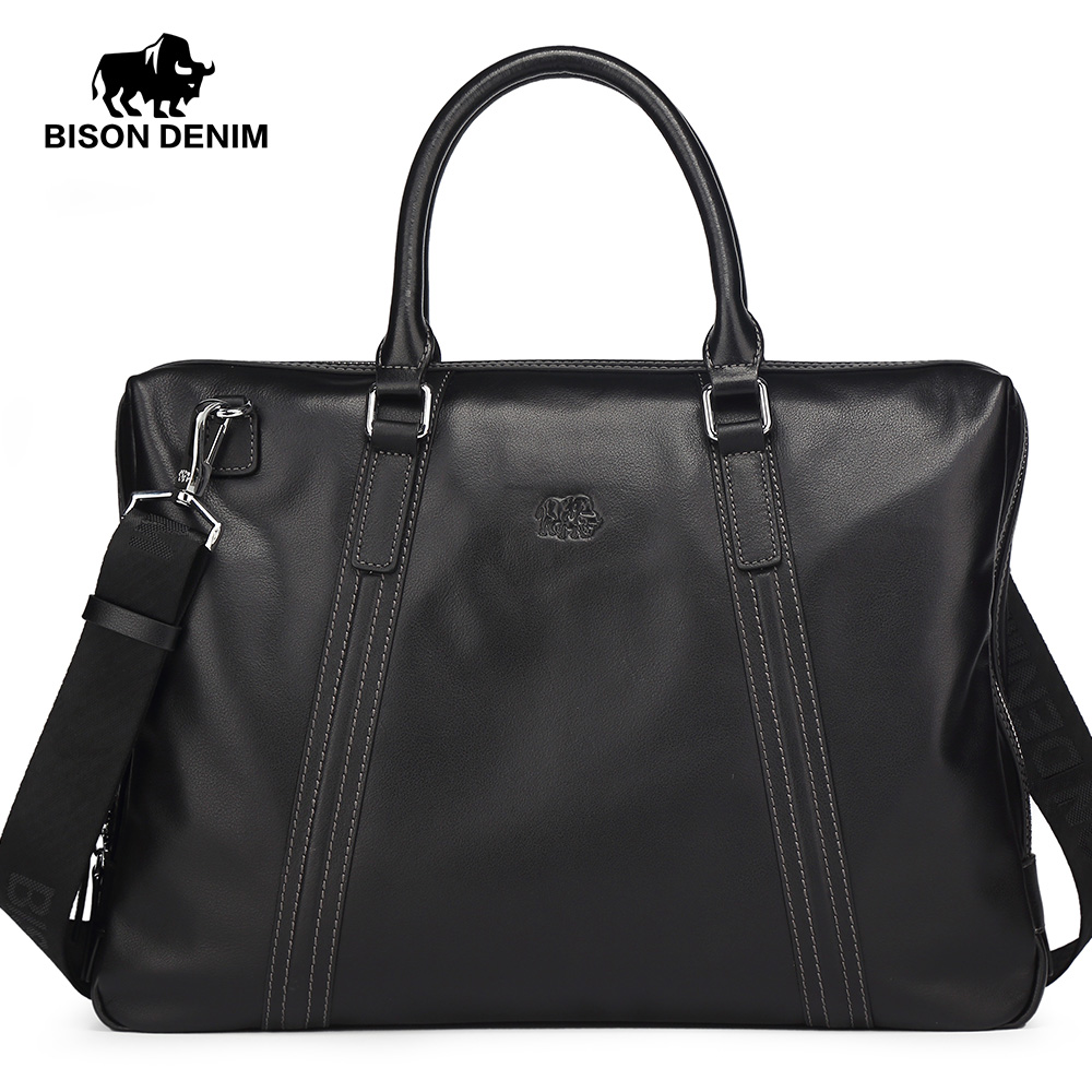 BISON DENIM luxury men bag brand genuine leather handbag shoulder bags business men briefcase laptop bag padieoe luxury genuine leather bag business men briefcase laptop bag brand handbag shoulder bags