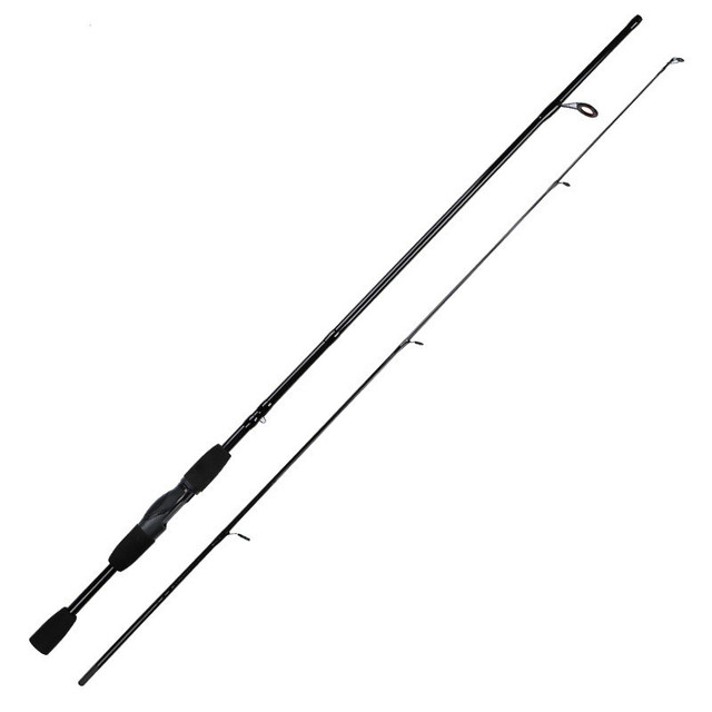 Black Carbon Fiber Spinning Casting Lure Fishing Rod.