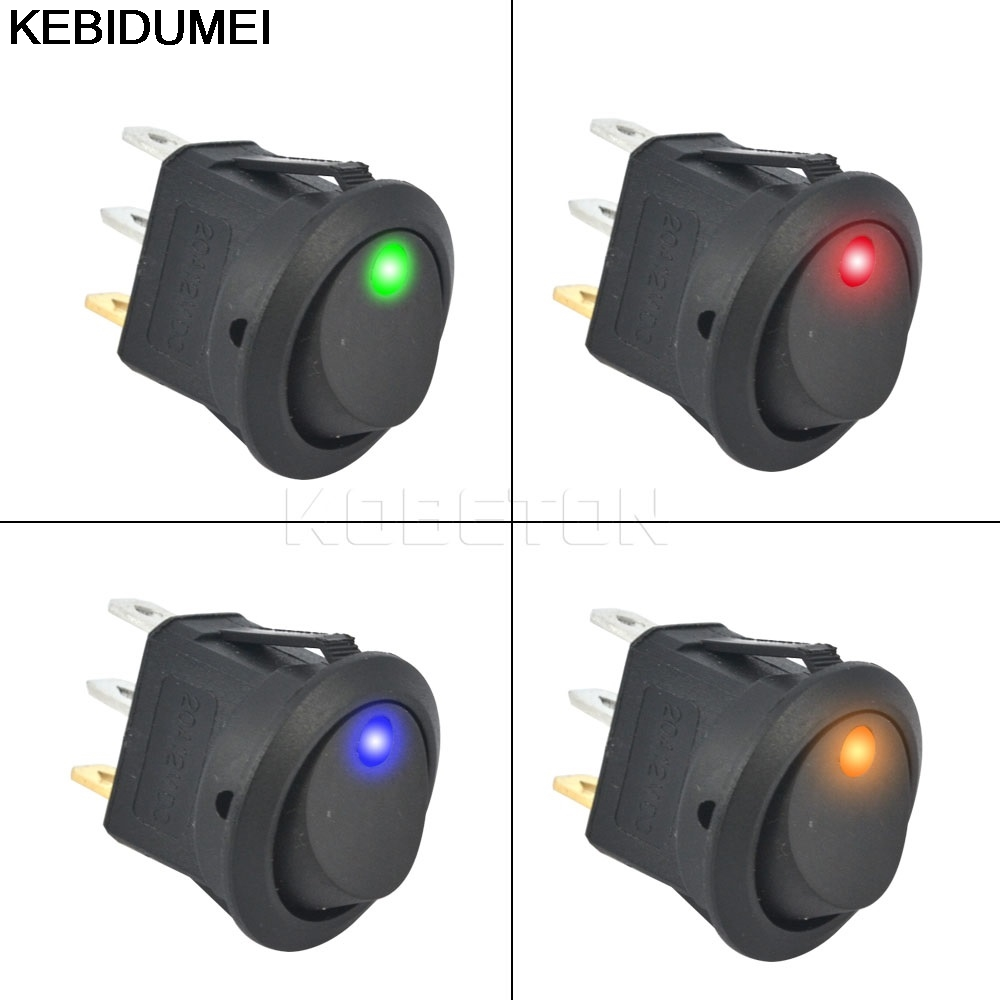 US $0 99 30% OFF|5pcs SPST Switch 3 pins ON OFF Rocker Switch 12V led  rocker switch Led Dot Light LED illuminated Car Dashboard Dash Boat  Toggle-in