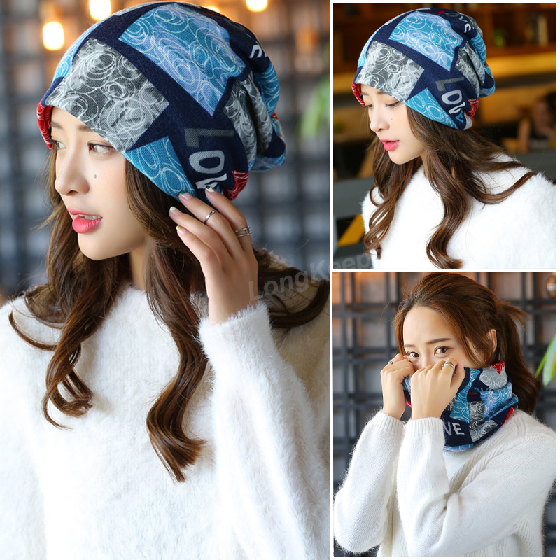 Long Keeper New Fashion Women Knit Warm Hat Scarf Three Used Woman Flora Cap Beanie Skullies For Girl Autumn Caps Bonnet