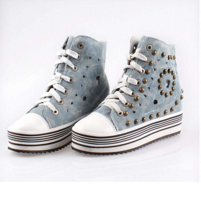 hot sale breathable high top lace up summer denim casual shoes punk rivet cut-outs canvas platform wedges height increasing shoe