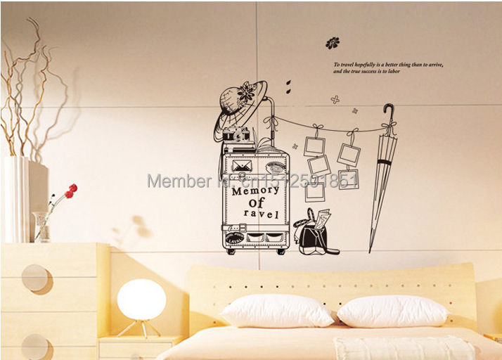 Travel Suitcase Luggage Memory Photo Frame Wall Stickers Removable Art mural decal DIY home decor wall paper poster Mem-in Wall Stickers from Home u0026 Garden ... & Travel Suitcase Luggage Memory Photo Frame Wall Stickers Removable ...
