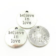 20Pcs Silver Tone Pendants For Bracelets Round Believe In Love Fashion Jewelry DIY Charms Craft Findings 20mm