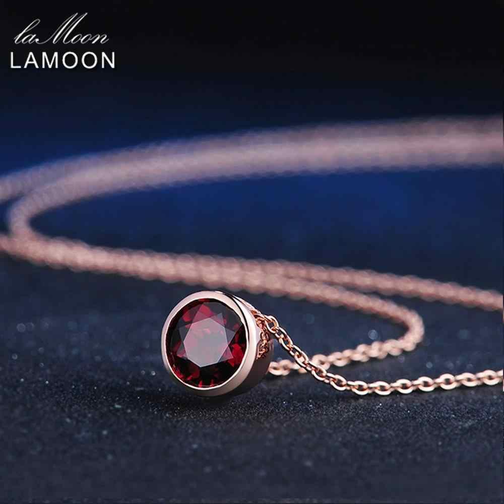 LAMOON 925 เงินสเตอร์ลิงสร้อยคอจี้แดง Garnet สร้อยคอผู้หญิง 18K Rose Gold Plated เครื่องประดับอัญมณี LMNI002