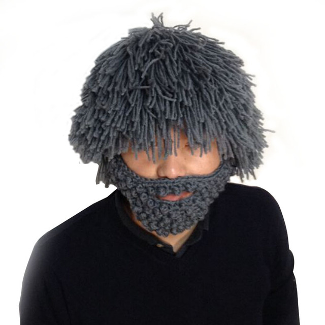 New 2019 Wig Beard Hats Hobo Mad Scientist Rasta Caveman Handmade Knit Warm Winter  Caps Men Women Gift Funny Party Mask Beanies c0787171c18
