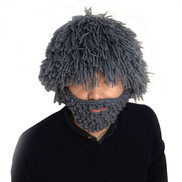 80987c4165a New 2019 Wig Beard Hats Hobo Mad Scientist Rasta Caveman Handmade Knit Warm  Winter Caps Men Women Gift Funny Party Mask Beanies