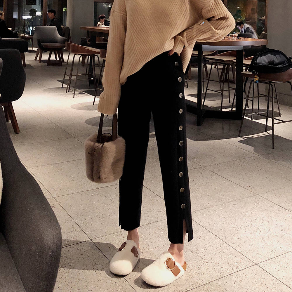 2019 New Women Knitted Pants Autumn Spring Female Straight Trousers Elastic High Waist Pants Side Split Woman Knit Pants Button