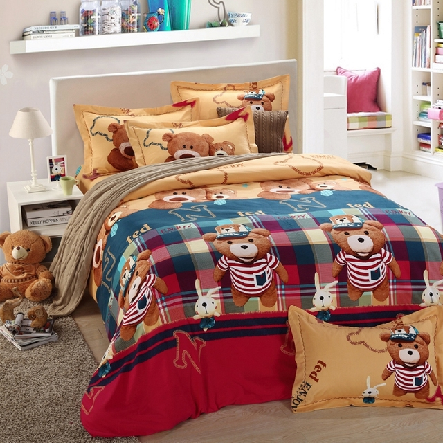 Teddy Bear Bed Sheets Bedding Set Kids King Queen Size Double