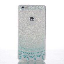 Para huawei p8lite silicone caso fina de cristal de alta limpar tpu macio transparente tampa cor decoração pintura caso do telefone móvel